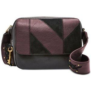Fossil Aria patchwork black small Crossbody purse